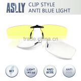 2016 new style computer Clip On Glasses with anti reflective anti blue light lens , night vision glasses , Yellow Lens