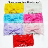 Lace messy bow headwrap, lace headband with big bow set of yellow, white, hot pink,blue, lavender, pink, red