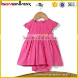 Short sleeves frock Style onesie floral applique cotton baby frocks design                                                                                                         Supplier's Choice