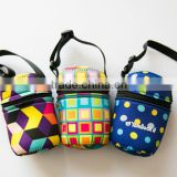 color printing Neoprene single water bottle cup holder/beer bottle cooler bag with handle
