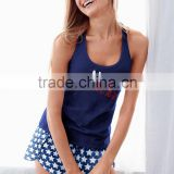 OEM Women Cute Lightweight Blue Star Print Mayfair Graphic Short Pajama Tank Top & Short Set