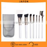 7pcs Pearly-white wood handle cosmetic brush set in a portable brush bag