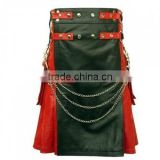 Red and black fashion pleated chain Leather kilt Made to measure,New stylish Red and black pleated kilt in Leather
