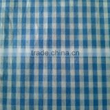 100% cotton yarn dyed woven poplin fabric samll blue white plaid pattern shirt fabric
