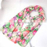 WLFOU-29 100% Polyester vintage floral digital printed feather boa scarf