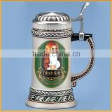 3D German ceramic beer steins with lid wholesale