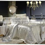 2015 new design king size silvery luxury cotton jacquard bedding set