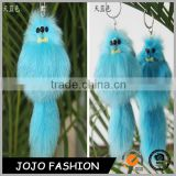Fashionable fox fur keychain/bag charm colorful fox fur keychain