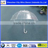 Wholesale cheap China suppliers produced fiberglass ribs 2015 promotional products deep transparent umbrella with white handle