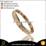 Gold Plated Stainless Steel Clasp Crystal Rhinestone Custom Logo 316L Magnetic Metal Bangles Bracelet Blank