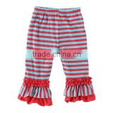 Kaiyo Kids Girl Triple Ruffle Pants Baby 100% Cotton OEM service Tight Leggings Pants Mixture stripe Sew Sassy Icing Legging
