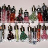 Rose Quartz Druzy Gemstone Glass Bottle Pendants Antique Silver Cap Assorted Shapes Glass Vials with Lucky Beads
