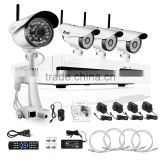 720P 4 CH NVR Wireless cctv camera System with 1TB Hard Drive with 4 Weatherproof Night Vision Wireless IP Cameras