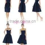 Cheap One-shoulder Short Navy Blue Short Satin Bridesmaid Dress Maid Of Honor Dress ZY526