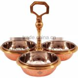 Indian Art Villa Steel Copper 3 Bowl Compartment Pickle Dish SERVING Restaurant Ware Hotel Home USe