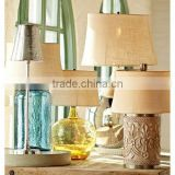 UK style energy saving desk lamp with beige linen lamp shade CE certificate for indoor lighting