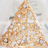 46*26mm Clear Crystal Gold Plated Christmas Tree Pin Brooch