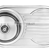 Yacht,Boat,Train and Public Mobile Toilet Used Stainless Steel Washing Basin Kitchen Sink Round Shape with Drain Board GR-Y619