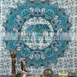 Indian Cotton elephant design Mandala Beach Throw Yoga Mat Round Tapestry Indian Decor Wall Throw