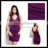 Sexy backless V-neck sleeveless ruffle latest fashion short special occasions deep purple prom dress 1015