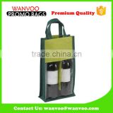 Beverage Gift Industrial Use and Screen Printing Surface Handling 2-3 Bottles Jute Wine Bottle Bag With Pvc Window