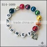 Express Love Dolphin Charm bracelet Rainbow Pearls Dolphins in heart shape for Valentine's Day Bracelet Jewelry Wholesale
