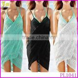 2015 Fashion Sexy Women Lace Cotton Wrap Dress Holiday Loose Bikini Cover Up Beach Dress