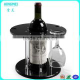 Round black acrylic single wine bottle display holders Plexiglass red wine cup displays buy 5pcs cup rack wholesale