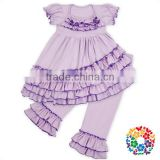 Solid Lavender Baby Girls Outfits With 4 Layers Ruffle On The Skirt short Sleeve Ruffle Pants Set Boutique Girl Clothes Sets
