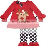 Children's wear red suit girls Christmas suits wave Thanksgiving cartoon dots and pants