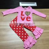 cute toddler V-days girls baby kids pink lace Valentine clothes heart top pant new design hot sell boutique red sets