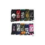 Cool Black 100% cotton printed Fire Dragon Japan five funny toe socks for boys