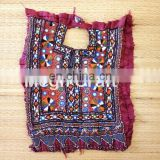 Indian Banjara Mirror work Beaded Neck Yock patches- Vintage Mirror Work Dress Piece patches