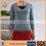 Women knitted factory cashmere sweater v neck