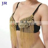 Egyptian style sexy belly dance bra with gold and silver rivet and metal tassel decoration YD-003#