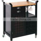 Wood Black Wine Cabinet with 4 Casters