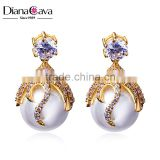 Good Seller Ladies Earrings Design Picture Cubic Zirconia Luxury Fancy Drop Pearl Earring