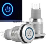 Splash Resistant 16mm Power Push Button ON/OFF Latching Switch w/ 12V Blue LED Power Symbol Head