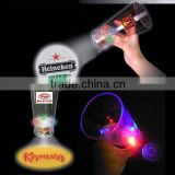 most popular 3 different color led projector cup for pub and bar , blinking plastic led cup with logo