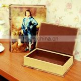 decorative wooden storage boxes with lids, Fake book shape wooden jewellery box, gift box with Napoleon's printing