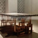 Modern Unique Stainless Steel Dining Table Designs With Marble Top Dining Room Furniture