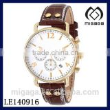 Fashion men's chronograph watch quartz movement*Analog Display Japanese Quartz Brown Watch