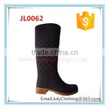 diamond lady low heel boots fashion cheap knee high stretch pvc rain boots