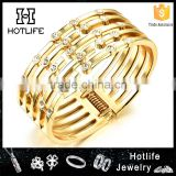 2016 hot trendy latest design girls top high polishing gold cuff bangle with full crystal beads