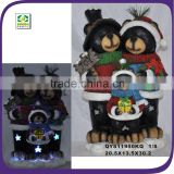 2015 Creative design christmas bear family wearing sweater resin material