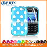 Set Screen Protector And Case For Blackberry 9320 , Polka Dots Gel TPU Cusomt Blu Phone Case