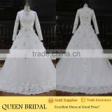 QUEEN BRIDAL Real Sample Luxury Beaded Long Sleeve Muslim Wedding Dress                                                                         Quality Choice