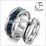 His 8MM and hers 5mm Tungsten Carbide Couples Rings Wedding Band with Black and Blue Carbon Fiber Inlay