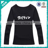 China apparel supplier for printing t shirt, black women long sleeve t-shirt sweatshirt China apparel supplier (lyt080015)