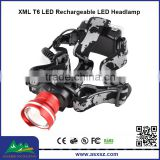 960lm XML T6 LED Zoom LED Headlight Headlamp with Adjustable focus lens (2166)